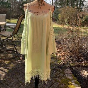 Francesca light Green dress W/ cold shoulder